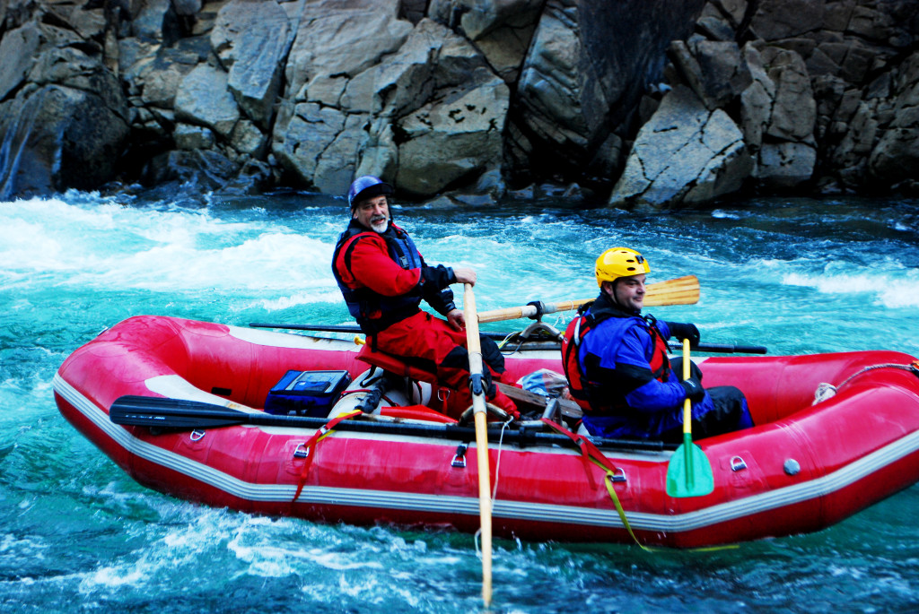 Mark Lindley and Steve  at the bottom of Scout Rapid on the North Fork Smith.